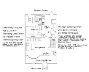 Union St 1BR Garden Apt Crown Heights CRG3131