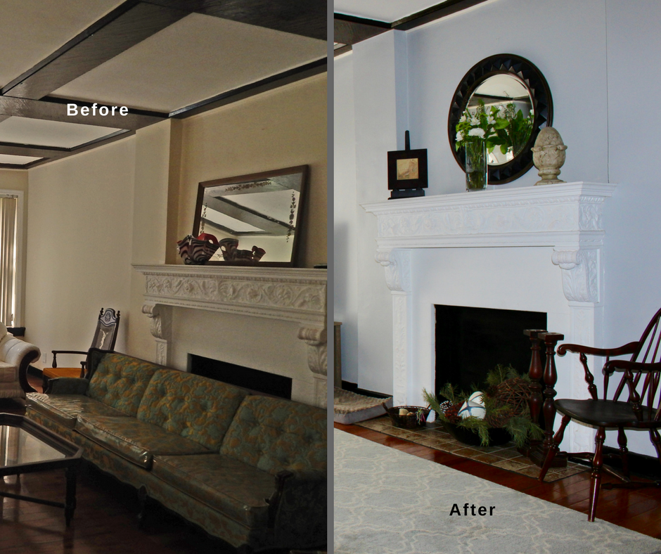67 lefferts ave living room fireplace before and after