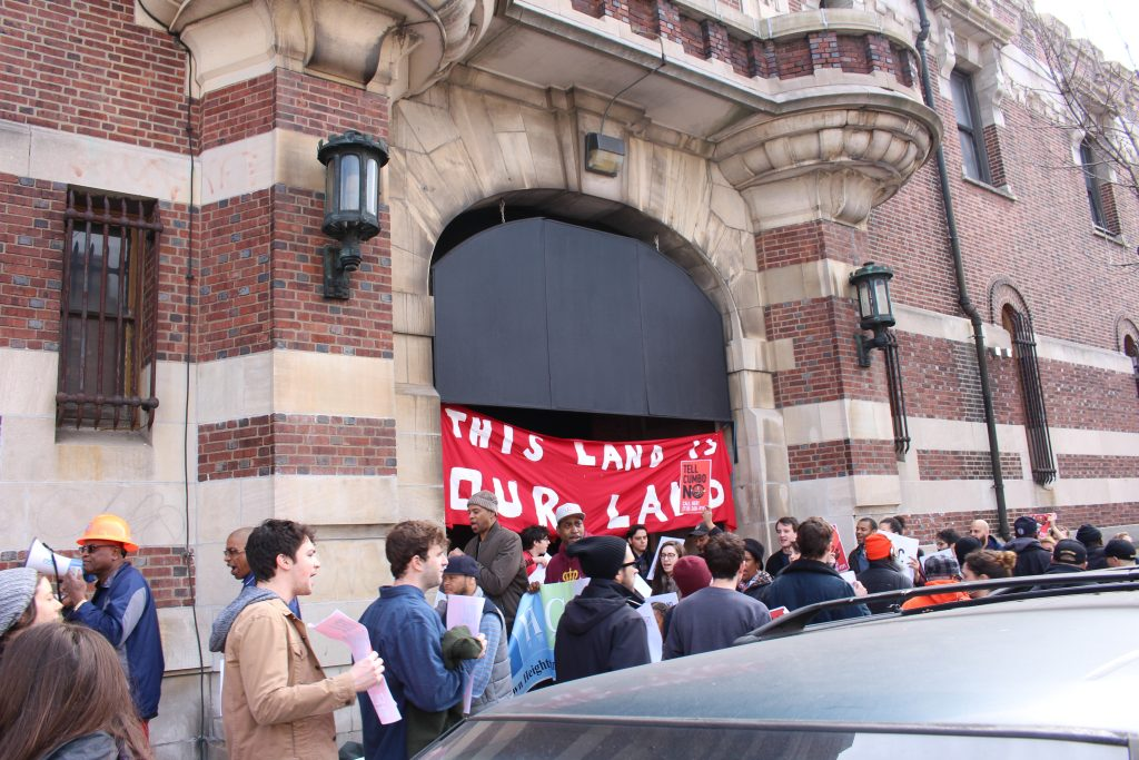 protest at bedford union armory in crown heights